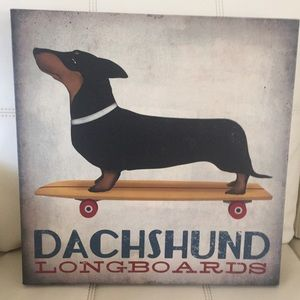 "Ryan Fowler Wall Art Dachshund Longboards 16""x16"""